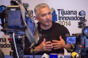 "Cesar Millan, ""The Dog Whisperer,"" says his success' staircase started when he decided to do what other people didn't want to do. He spoke during a press conference Oct. 19 at CECUT, Cultural Center of Tijuana, headquarters of this year's Tijuana Innovadora. (Photo by Celia Jimenez)"
