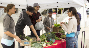 Student Bianca Gomez (far right) buys produce Dec. 1 at the Seeds@City farm stand. Managing the stand are (left to right) Claire Groeber, Dan Summers, Kevin Bateman and Mark Valen. (Photo by Celia Jimenez)