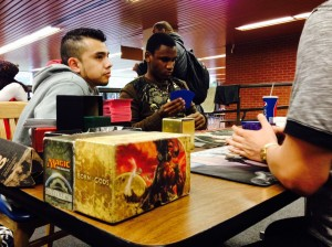 Gamers at the San Diego City College cafeteria tables say it's unclear just when the gatherings started. They have been consistently seen in the cafeteria for years. (Photo by Dane Allen)