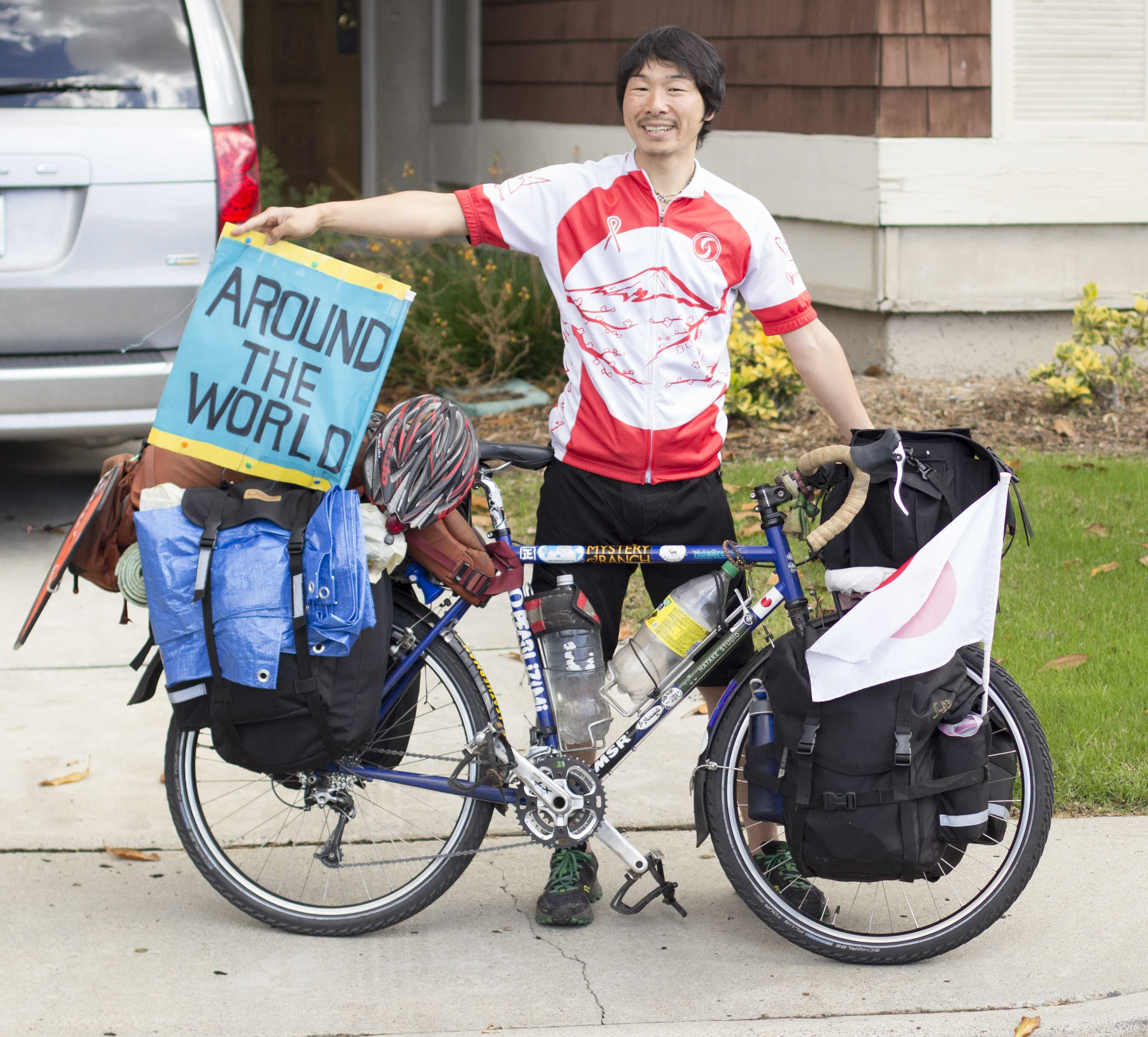 """Japanese cyclist Ryohei """"Rio"""" Oguchi, pictured Nov. 21 in Bonita, stopped in San Diego recently as part of a global journey. (Photo by Celia Jimenez)"""