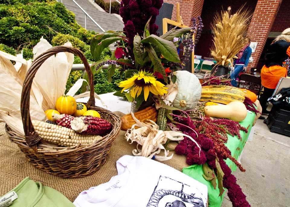 A table of harvest produce from a previous festival