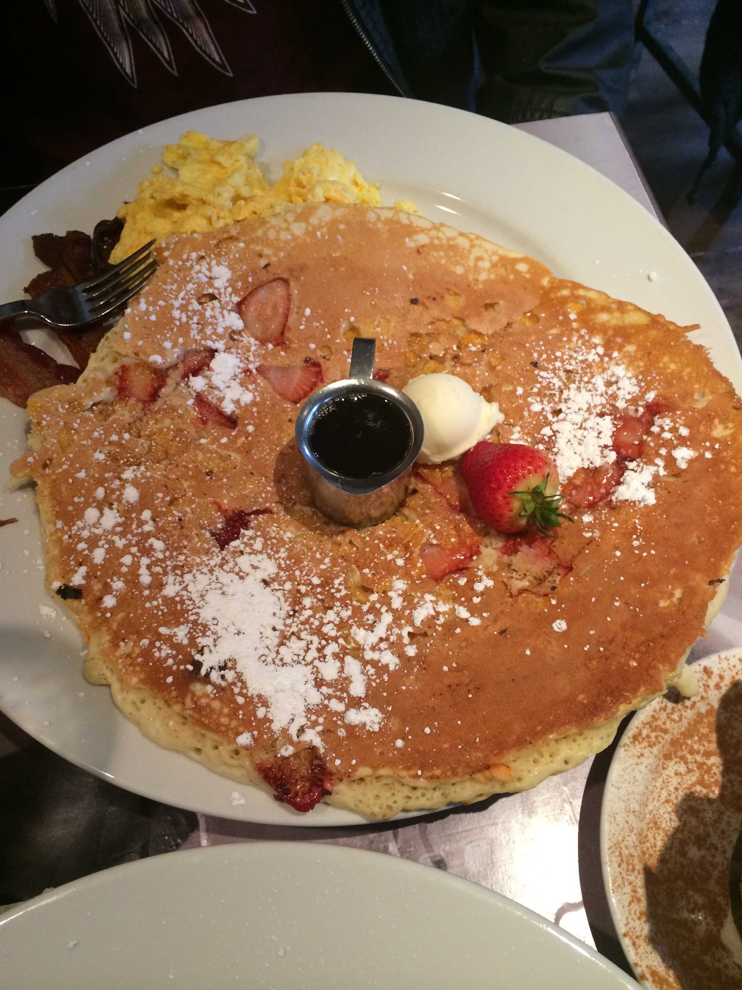 Delicious strawberry frosted flakes pancakes served up in huge portions at the Hash House A Go Go.Photo credit: Michelle Moran