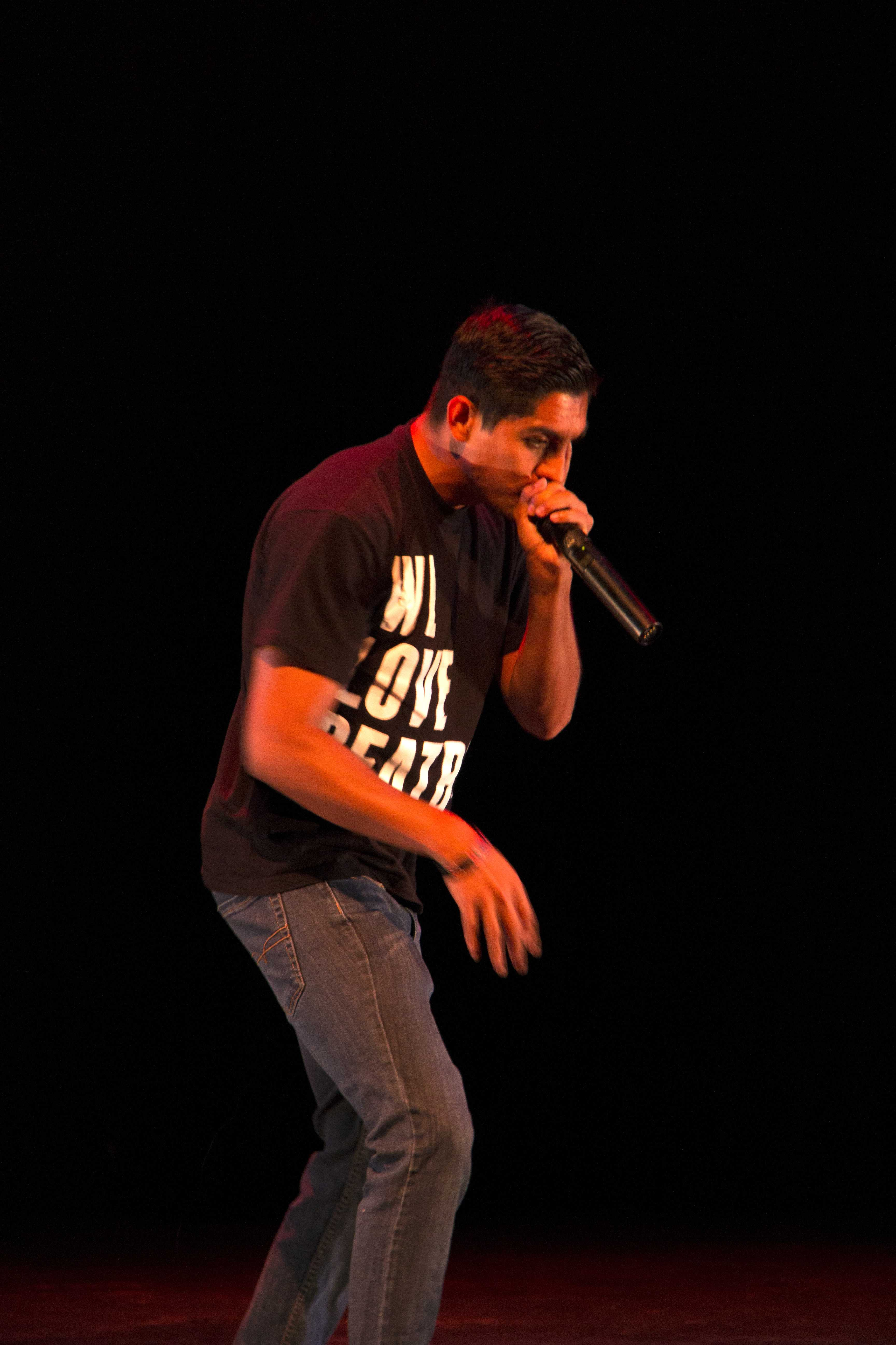 First place winner Luis Iturbide performing his original beat boxing piece. Photo credit: Celia Jimenez