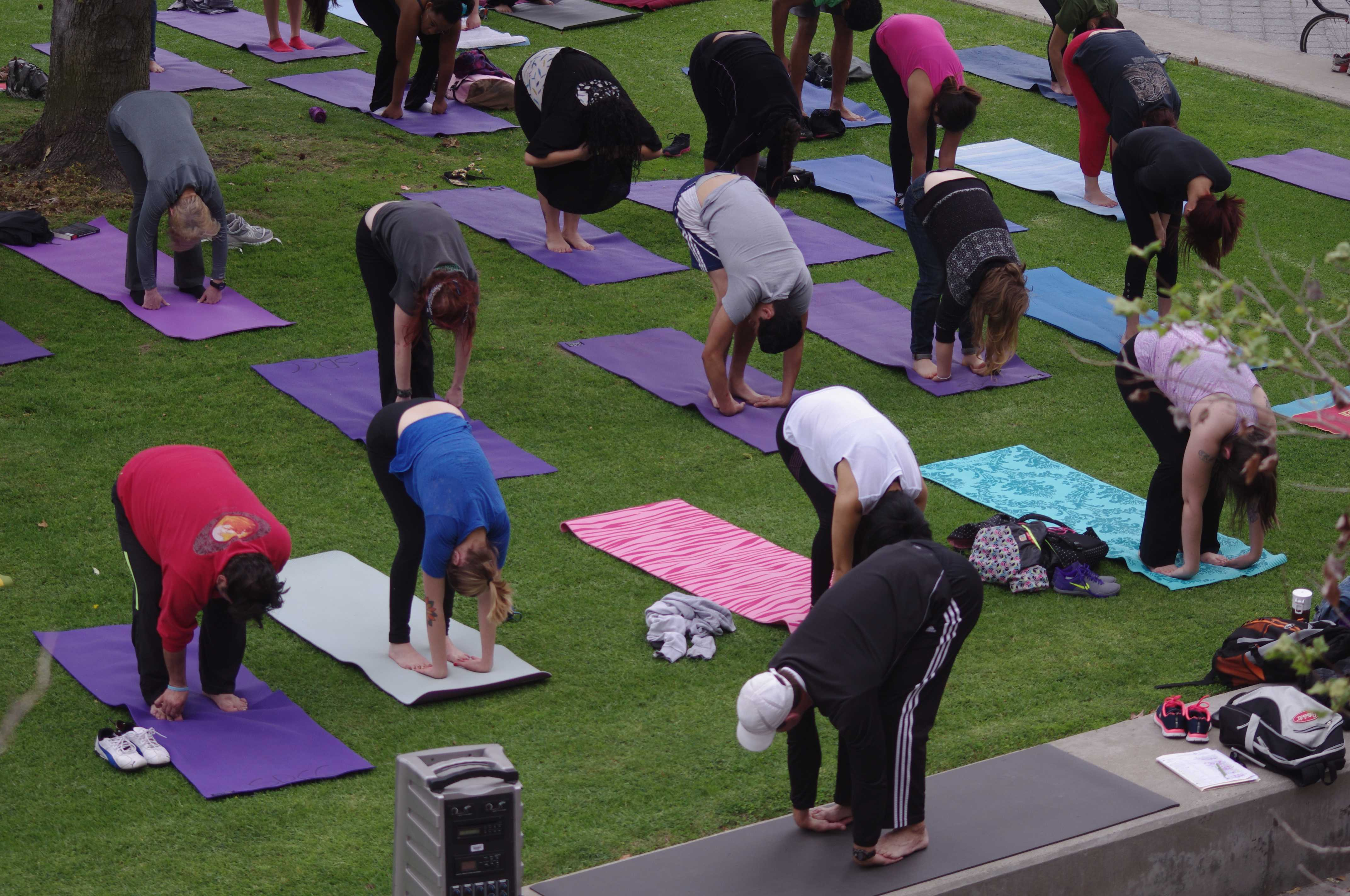 Students participate in the yoga class for Step Up to Live Well. Photo credit: Joe Kendall