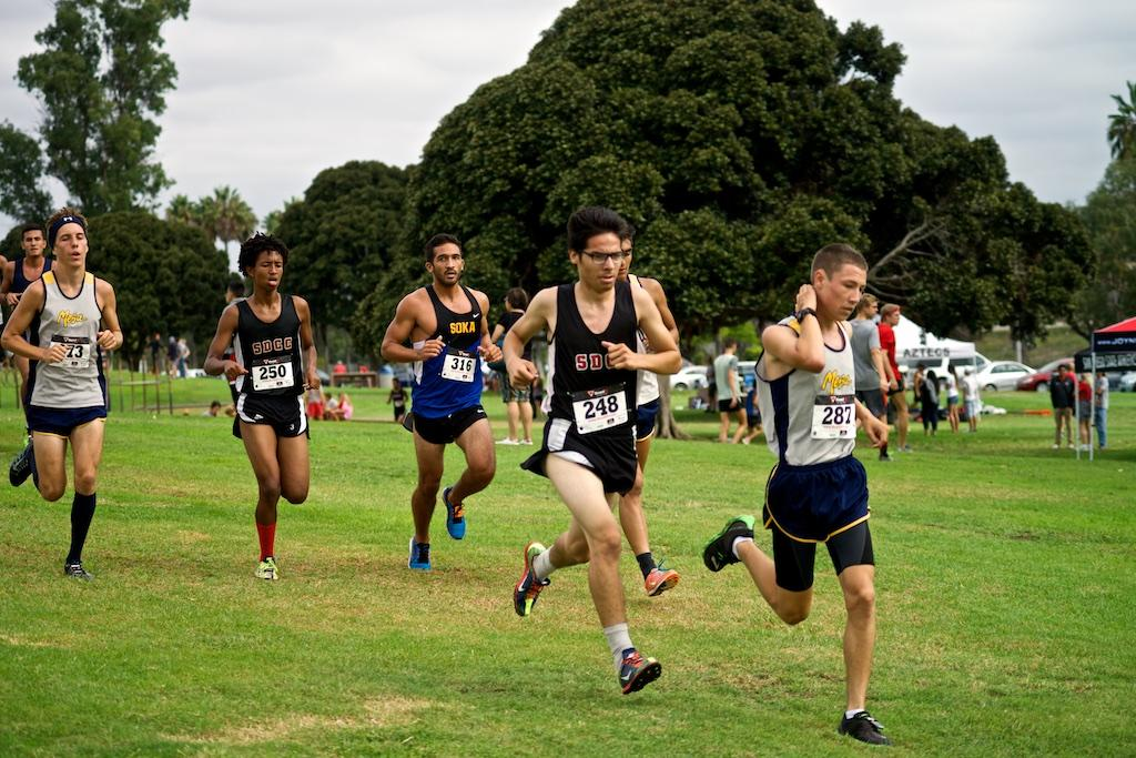City runners Antonio Cota (front) and Sawiros Haile compete in the 2014 San Diego State 'Aztec Invitational.' Running against five other schools in the Sept. 20 race in Mission Bay Park. Photo credit: Troy Orem