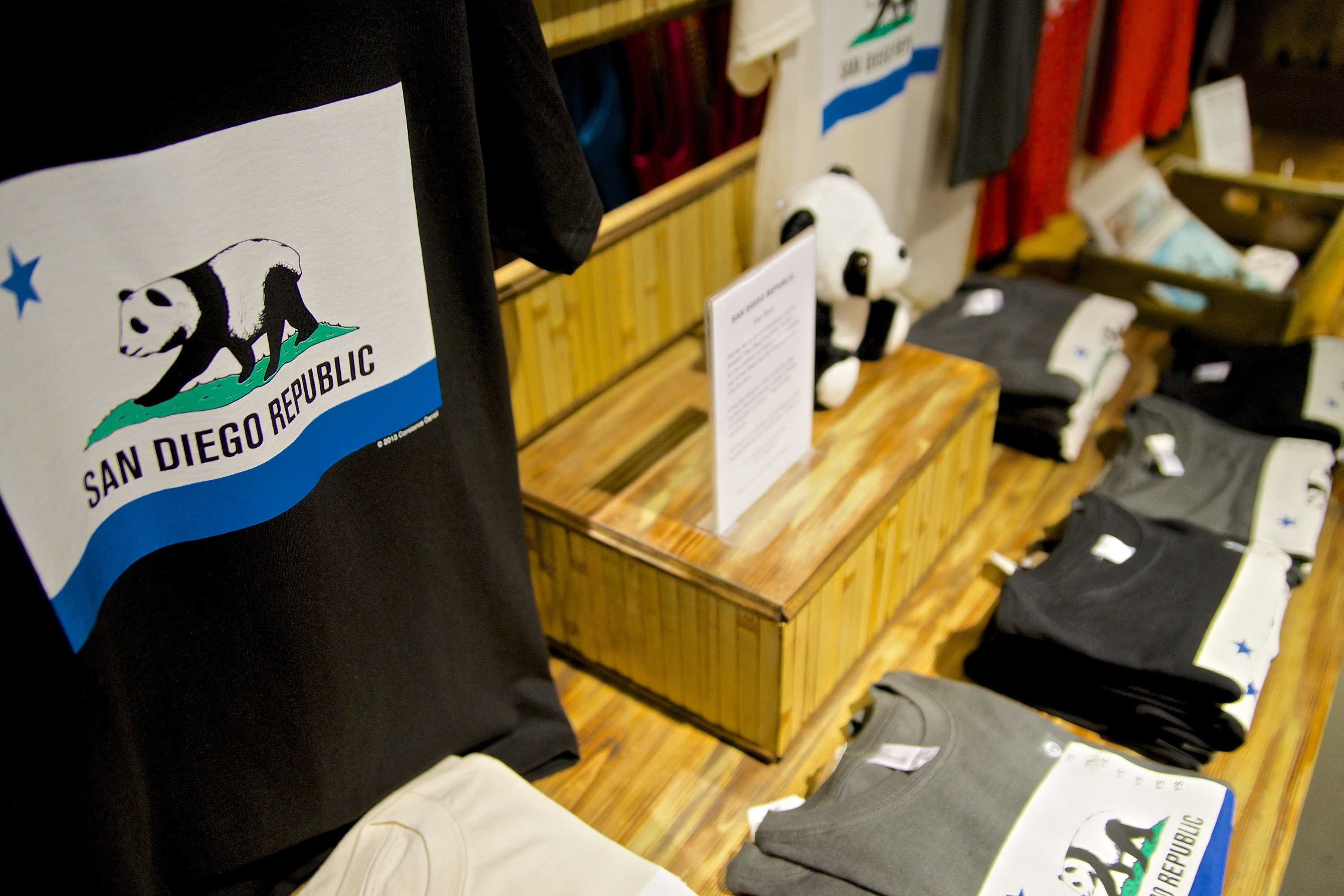 T-Shirts produced by San Diego Republic, a private venture of San Diego Community College District Chancellor Constance M. Carroll and business partner public radio host Martha Barnette are displayed in Simply Local at the Headquarters at Seaport District. Photo credit: Troy Orem