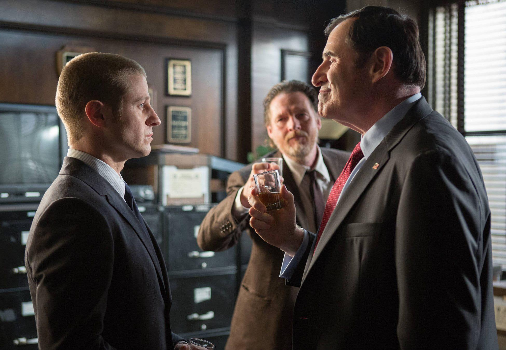 Actors Ben McKenzie (left), Richard Kind (right) and Donal Louge in 'Gotham.' Courtesy Photo.