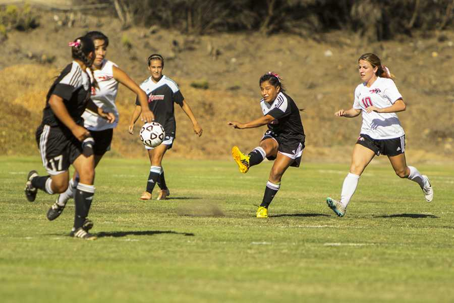 After+a+grueling+battle+over+the+ball+City+College+freshman+defender+Stephanie+Merida+%28center%29+kicks+the+ball+to+her+offensive+teammates+during+a+home+game+against+Palomar+College+on+Oct.+3.+Photo+credit%3A+Celia+Jimenez