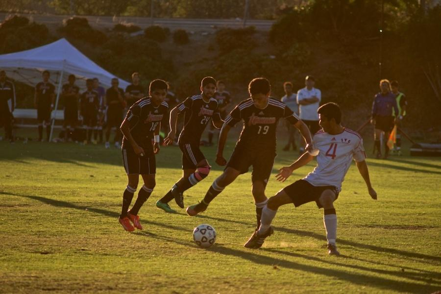 Knights+sophomore+forward+Daniel+Morales+gains+possession+of+the+ball+from+Imperial+Valley+freshman+defender+Eduardo+Galvan.+City+College+won+2-0+on+Nov.+7+at+the+SDCC+Soccer+Field.+Photo+credit%3A+Troy+Orem