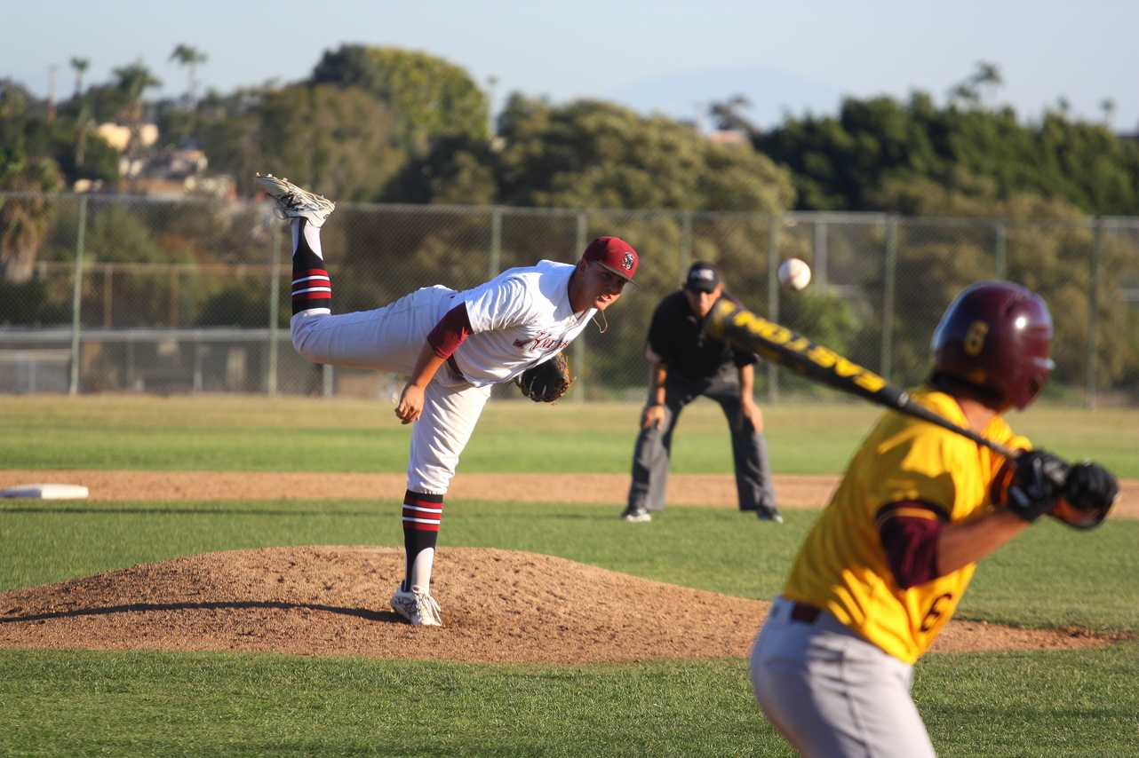 In the top of the ninth inning, Knights sophomore pitcher Kyle Peeler seals the 6-0 victory against Southwestern College by striking out Sammy Perez on Feb. 24 at Morley Field. Photo credit: David Pradel