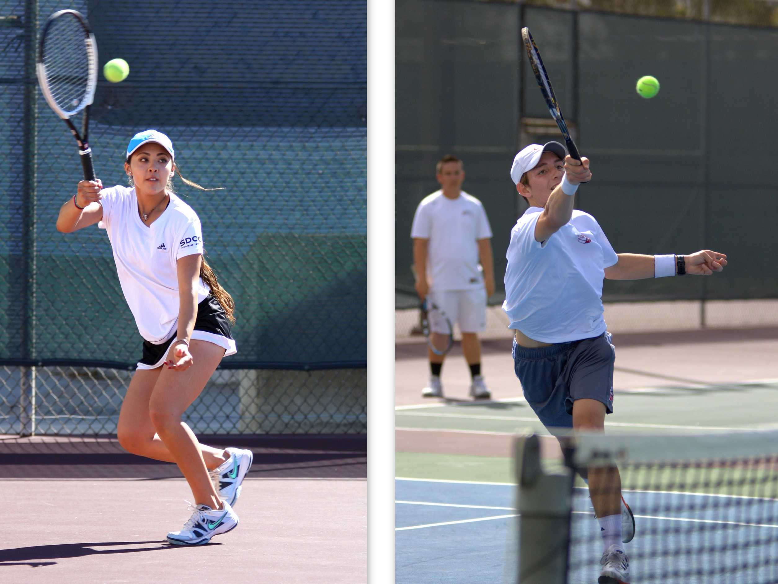 San Diego City College Knights freshmen tennis players Lily Yamauchi (left) and Logan Rinder (right) both reach for the ball during home matches on March 12  and 17, respectively against Palomar College at the SDCC Tennis Courts. Photo credit: David Pradel