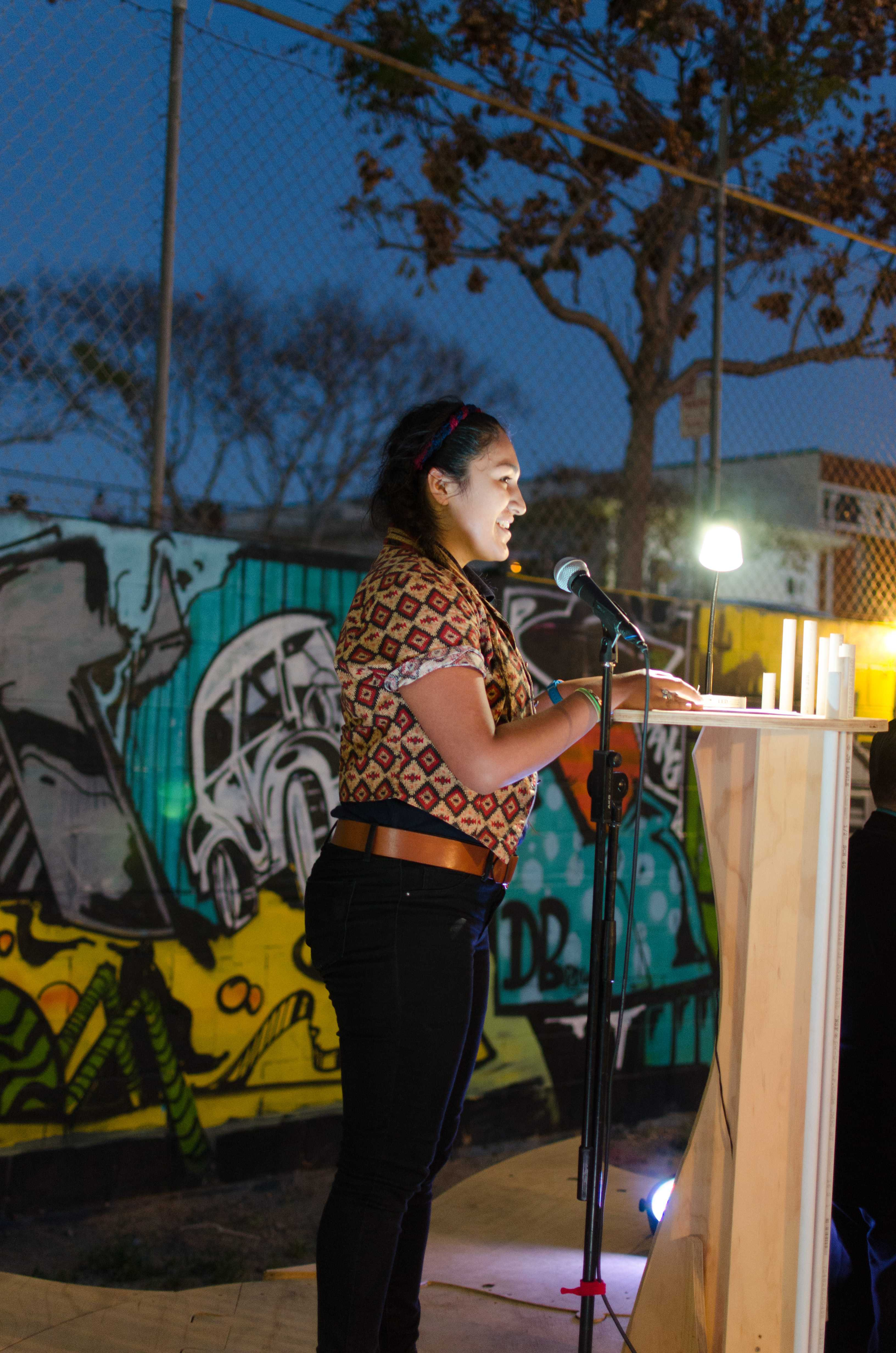 Student Jesimarie Rodriguez recites a written monologue at VAMP on March 26 along with eight other students. Photo credit: Richard Lomibao