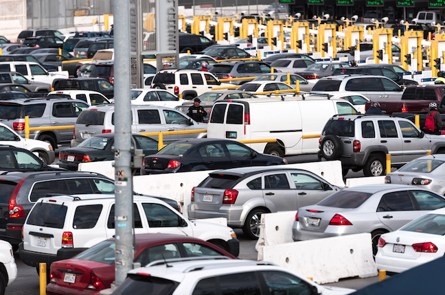 Drivers+wait+to+cross+over+the+San+Ysidro-Puerta+Mexico+Port+of+entry+in+bumper-to-bumper+traffic.