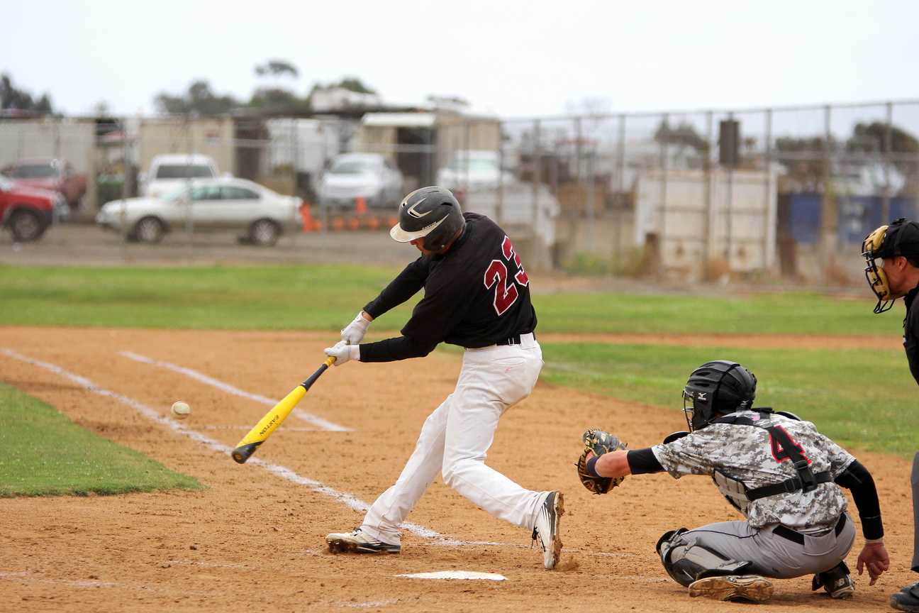 Freshman outfielder Tyler Flores hits the ball in the bottom of the third inning against Mt. San Jacinto College on April 24 where the Knights got the 6-3 victory against the Eagles in the final game of the season. Photo credit: David Pradel