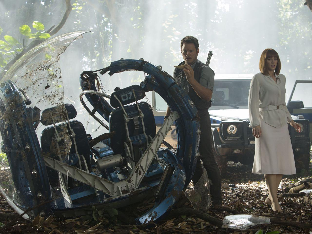 "Chris Pratt and Bryce Dallas Howard star in ""Jurassic World"". Official image."