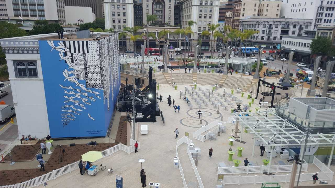 A newly reoponed Horton Plaza Park has many new features. Photo credit: Antonio Marquez