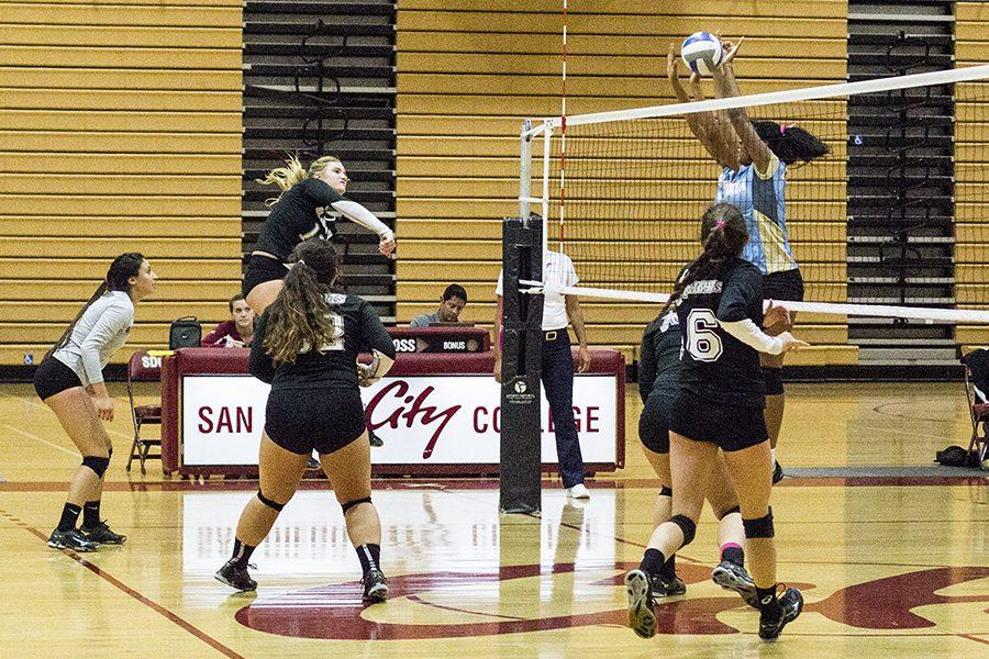 Knight+outside+hitter+Chloe+Gruwell+spikes+the+ball+against+Cuyamaca%27s+defense+on+Oct.+7+at+West+Gymnasium.++Photo+credit%3A+Celia+Jimenez