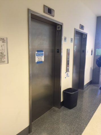 The two elevators in the MS Building that lead to the classrooms and offices.