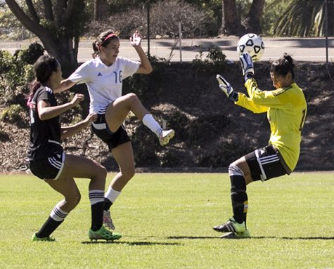 Cuyamaca freshman forward Kayla Kinney (No . 16) outflanks Kn ights sophomore midfielder Felicia Valenzuela and goalie Lisa arc ia and scores her second goal of the match. Photo credit: Celia Jimenez