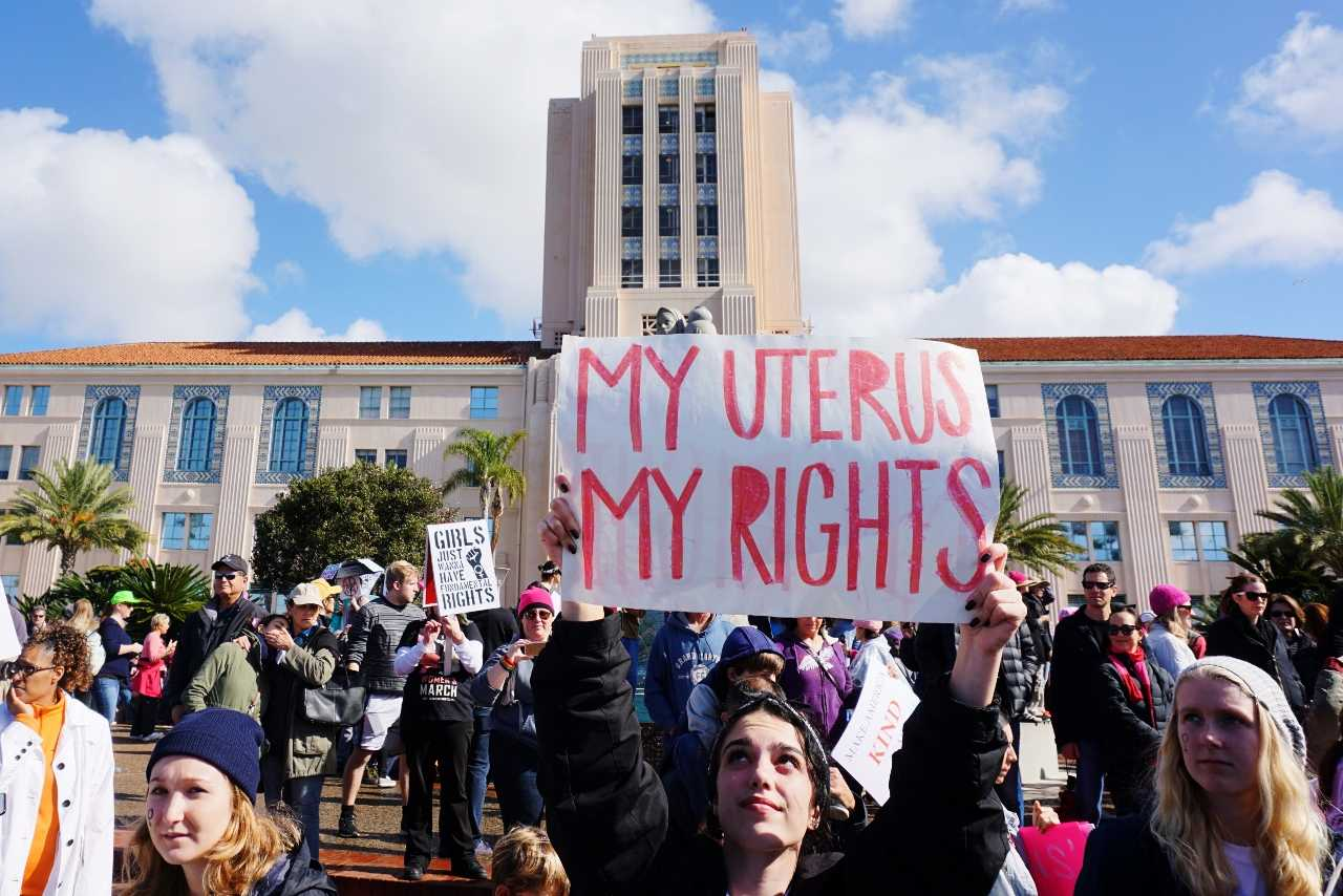 The San Diego Women's March on Jan. 21 ended at the County Administration Building. Photo by Melissa de Pineres