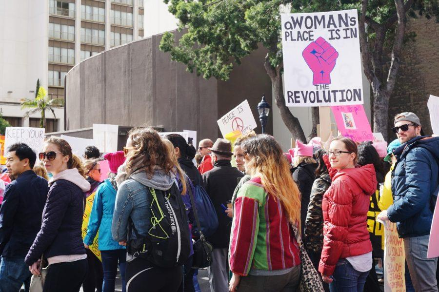 Groups+of+women%2C+families+and+individuals+turned+out+for+the+Women%27s+March+in+San+Diego+on+Jan.+21+to+protest+President+Trump.+Photo+by+Melissa+Gutierrez+de+Pineres