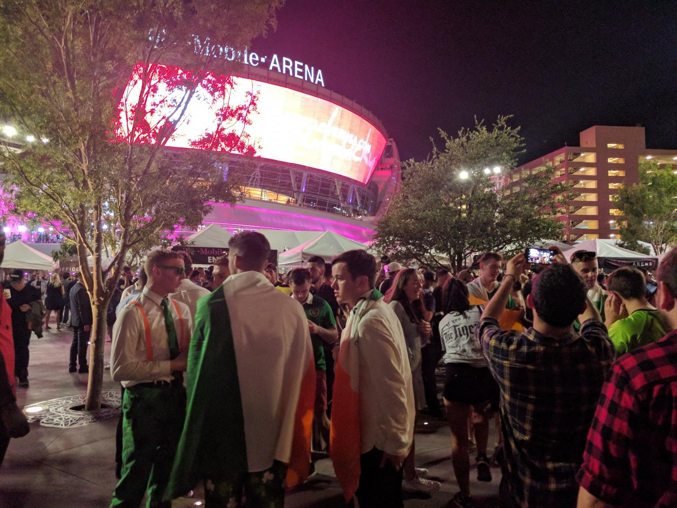 McGregor's Irish fans traveled 5,000 miles to support him in his first professional boxing match, Las Vegas, Aug. 26.