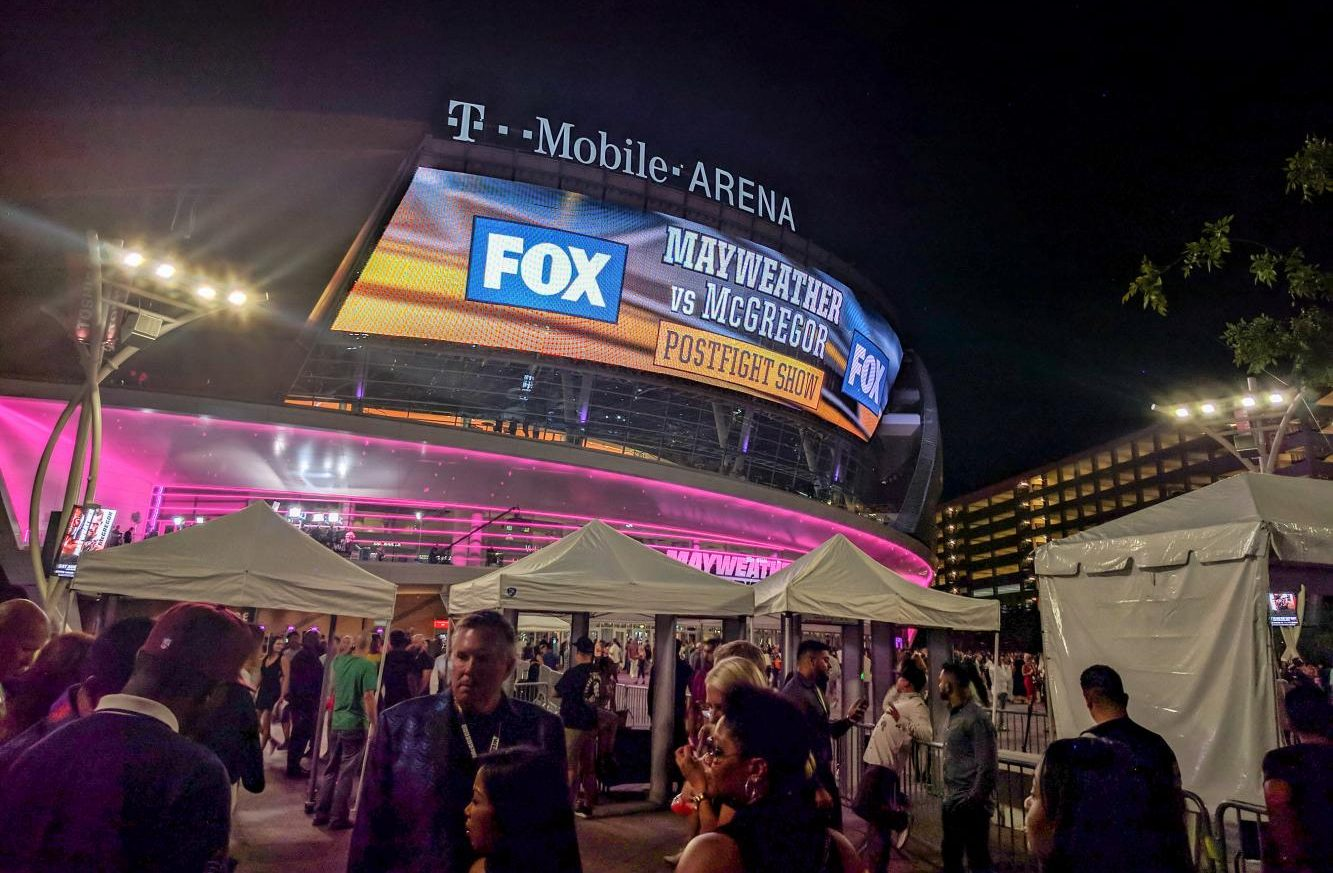 Fans congregate outside the T-Mobile Arena, Las Vegas after the historical fight, Aug. 26.