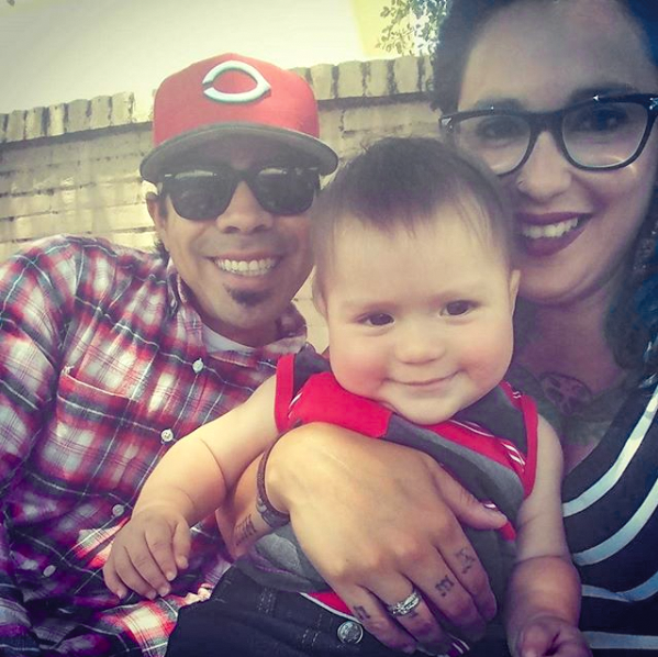 Journalism student and mother Cristal Miranda pictured with husband and son, July 2017.