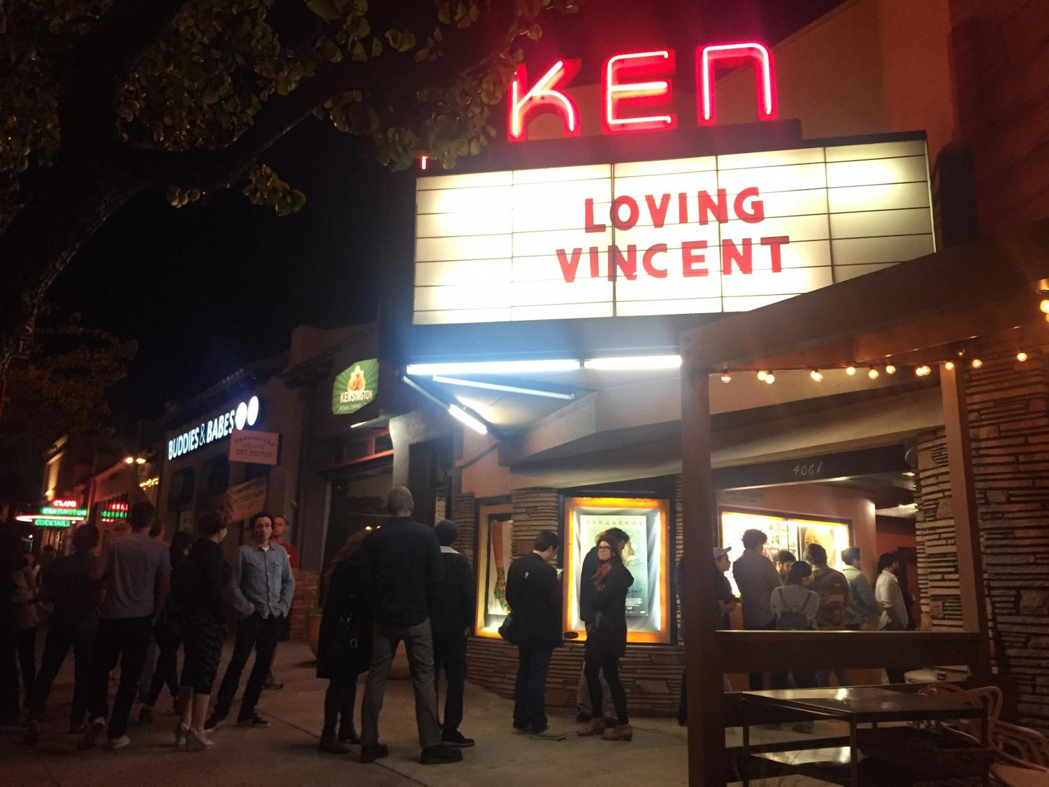 "Ken Cinema ""Loving Vincent"" front sign"