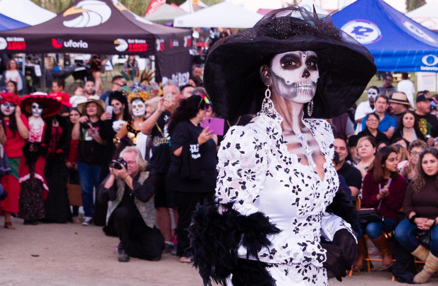 The winner of the catrina contest at La Vista Memorial Park and Mortuary's Día de Los Muertos festival in National City, Calif., Oct. 20, 2017.
