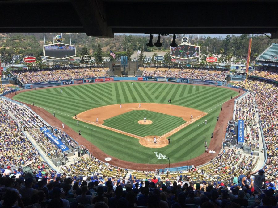 Dodgers+fans+filling+up+the+Dodger+Stadium+before+the+start+of+a+day+game%2C+Los+Angeles%2C+Aug.+2017.+