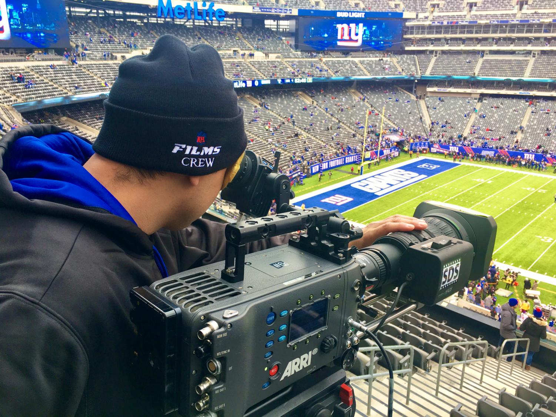 NFL+Films+Cinematographer%2C+Andrew+Jimenez+behind+the+lens+at+the+MetLife+Stadium+Photo+by+Andrew+Jimenez