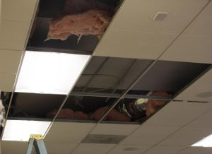 R building ceiling damaged by flood