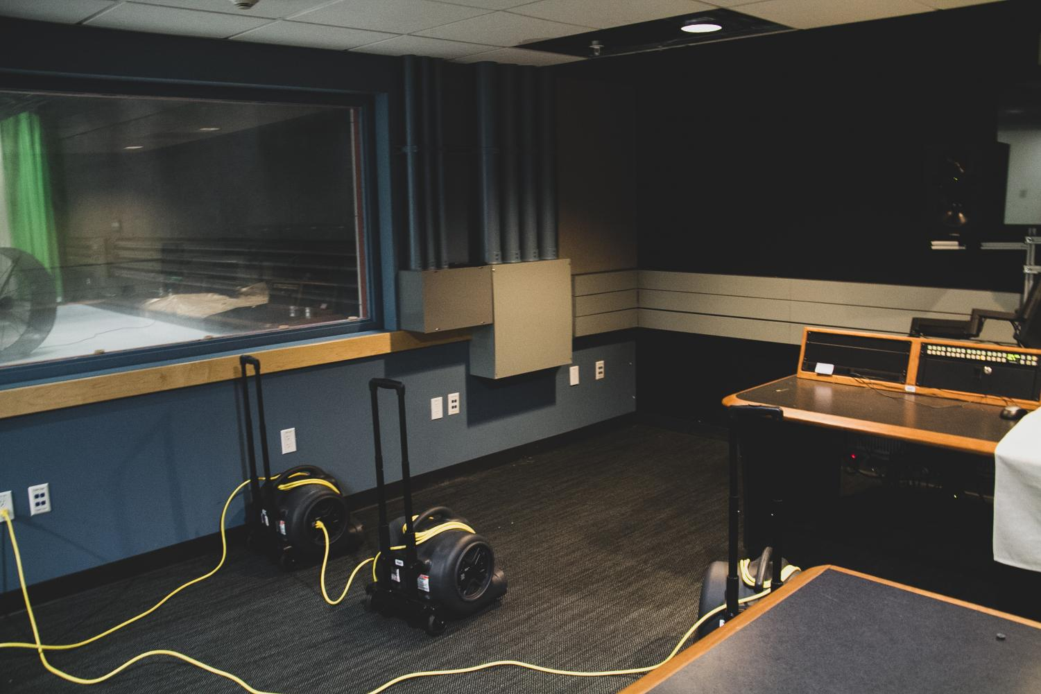 The weekly production of Newscene had to be moved from its studio and control room (pictured) due to a flood on Oct. 5. Photo by Harlan Burnett.