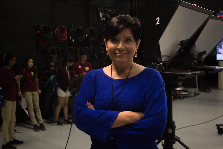 RTVF professor Laura Castañeda in the Newscene studio. By Nadia Mishkin