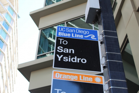 Blue line Trolley sign