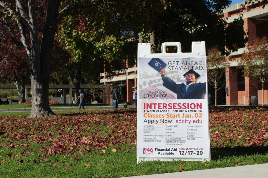 Signs+on+campus+during+the+fall+semester+reminded+students+to+register+for+intercession+classes.+Jonny+Rico%2C+City+Times