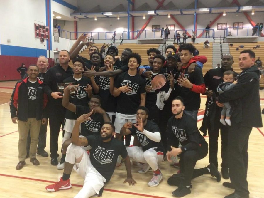 The+City+College+men%27s+basketball+team+celebrates+after+coach+Mitch+Charlens%27+300th+win.+By+Sonny+Garibay%2FCity+Times