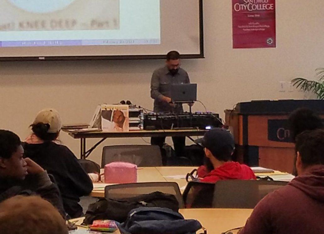 Professor Rubalcaba uses deejaying to help teach practical mathematics to students.