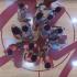 City College men's basketball team at center court