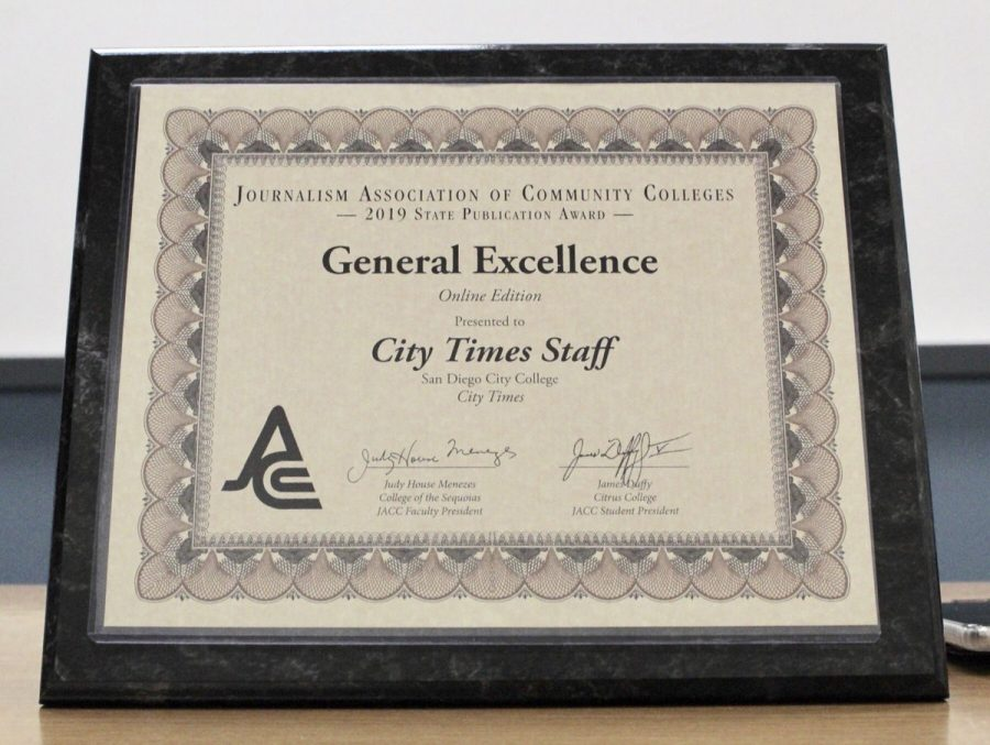 The+City+Times+was+presented+with+a+General+Excellence+award+at+the+2019+JACC+state+conference.+By+Jonny+Rico%2FCity+Times