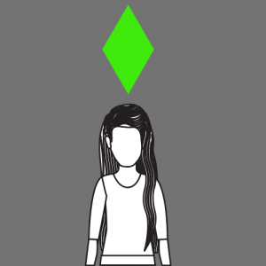 A graphic of a woman with a green diamond above her head