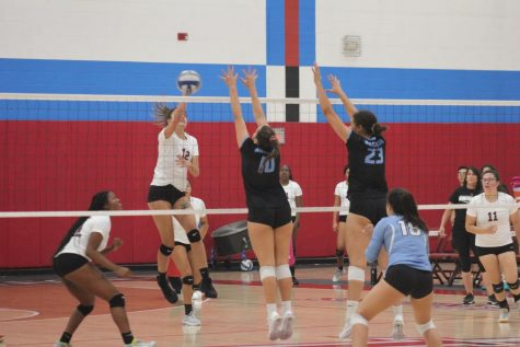 The Knights play volleyball against Mira Costa